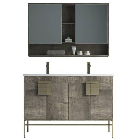 "Alma Bulanka 48"" Double Sink Vanity Dawn grey Finish , Golden Brass Hardware"