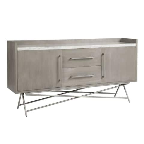 72 Inches 2 Drawer Wooden Sideboard with Metal Legs, Gray