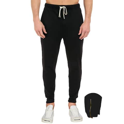 NE PEOPLE Mens Casual Elastic Terry Fleece Side Ankle Zipper Jogger Pants XS-5XL [NEMP25]