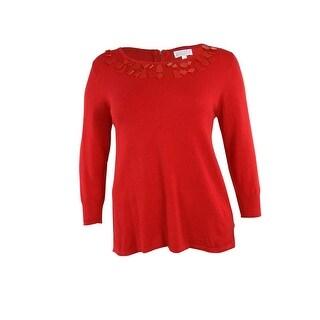 Joseph A Women's 3/4 Sleeve Embellished Knit Sweater - poinsetta