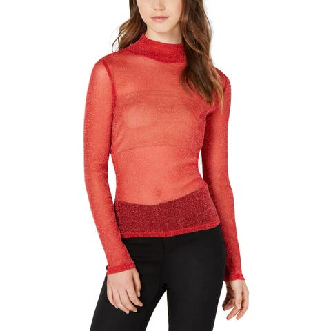 XOXO Top Red Size Medium M Junior Turtleneck Shimmer Sheer Long Sleeve