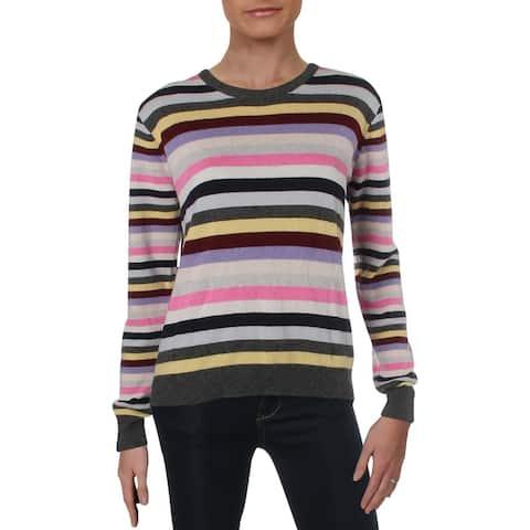 Aqua Womens Sweater Striped Long Sleeves