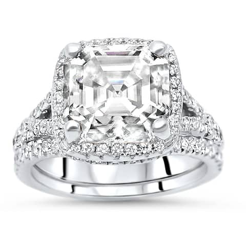 14k White Gold 3ct Asscher Moissanite & 3/5ct Diamond Engagement Ring Bridal Set