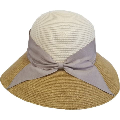 Women's packable hand sewn floppy braided hat for farming, gardening