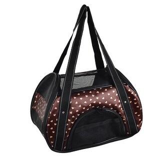 Outdoors Travel Nylon Pet Carrier Dog Handbag Cat Crate Totes Bag Coffee Color