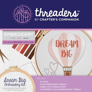 "Crafter's Companion Threaders Embroidery Kit 6""X6""-Dream Big"