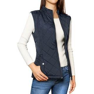 Link to Woman Zip Up Front Stand Collar Slant Pockets Quilted Padded Vest Similar Items in Women's Outerwear