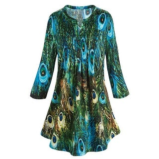 Women's Tunic Top - Green & Blue Peacock Feathers Pleated Blouse