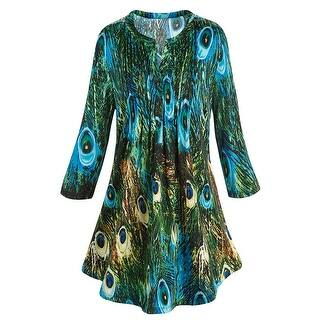 Women's Tunic Top - Green & Blue Peacock Feathers Pleated Blouse|https://ak1.ostkcdn.com/images/products/is/images/direct/aa346c88f280e19df30a39a1d6b48194c8e2135f/Women%27s-Tunic-Top---Green-%26-Blue-Peacock-Feathers-Pleated-Blouse.jpg?impolicy=medium