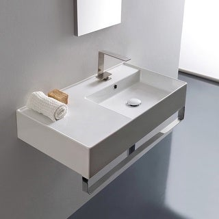 "Nameeks Scarabeo 5118-TB  Scarabeo Teorema 2.0 32"" Rectangular Ceramic Wall Mounted Bathroom Sink with Overflow and Towel Bar"