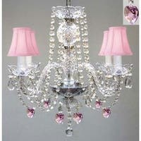 Plug In Swarovski Crystal Trimmed Chandelier With Pink Crystal *Hearts*& Pink Shades