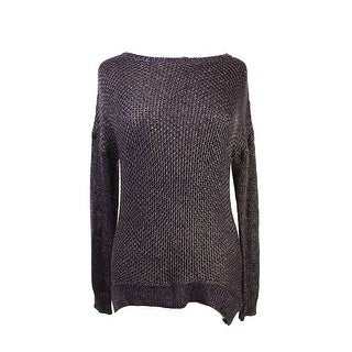 Grace Elements Purple Long-Sleeve Lurex Crewneck Sweater M
