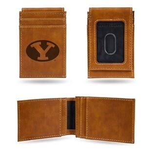 4 Brown College BYU Cougars Laser Engraved Front Pocket Wallet N A