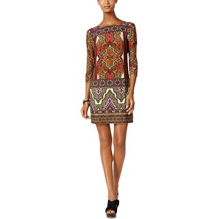 Sandra Darren Womens Casual Dress Paisley 3/4 Sleeves