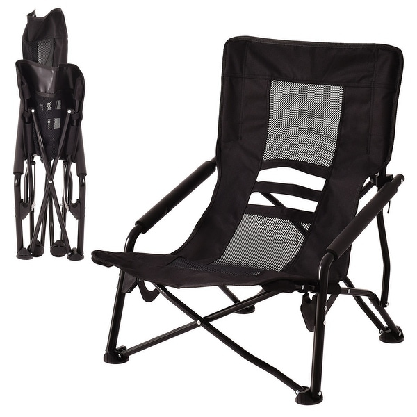 4ed90b7ac8ff Costway Outdoor High Back Folding Beach Chair Camping Furniture Portable  Mesh Seat Black