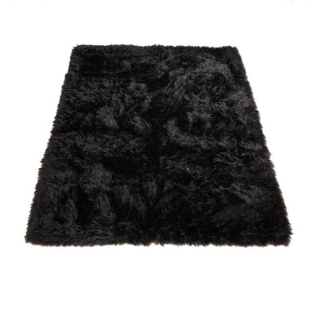 "Walk on Me Faux Sheepskin Rectangle Faux Fur Machine Washable Area Rug - 2'3"" x 3'7"" - Black"