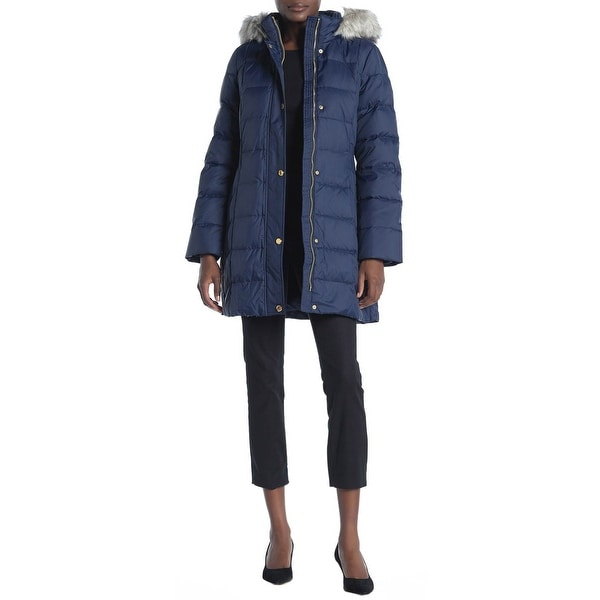 Anne Klein Womens Faux Fur Hoodie Puffer Coat Medium Navy
