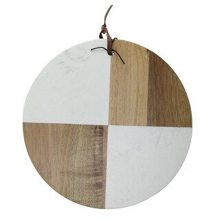 """9.5"""" Ivory and Brown Solid Acacia Wood and Marble Round Cutting Cheese Board"""