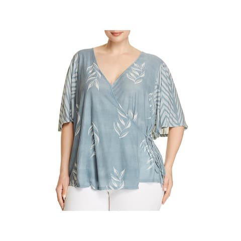 Lucky Brand Womens Plus Wrap Top Floral Striped