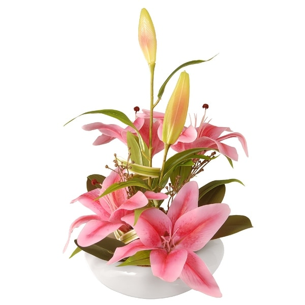 "18"" Pink Lily Flowers - N/A"