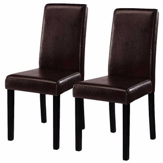 Costway Set of 2 Brown Elegant Design Leather Contemporary Dining Chairs Home Room