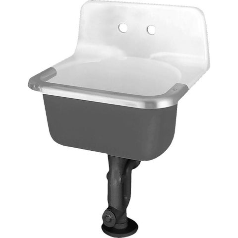 """American Standard 7695.008 Akron Wall Mounted Cast Iron Utility Sink with 24"""" Length - White - N/A"""