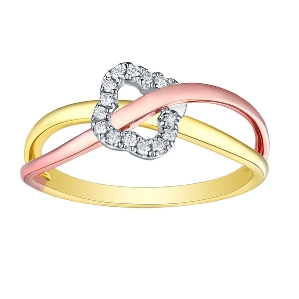 Prism Jewel 0.08Ct Round Natural G-H/SI1 Diamond Tri-Color Gold Twisted Ring - White G-H