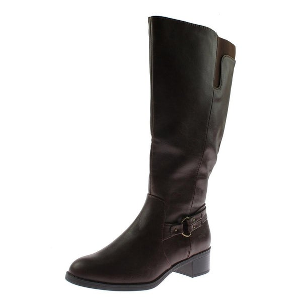 Easy Street Womens Grande Plus Riding Boots Wide Calf Faux Leather - 7 medium (b,m)