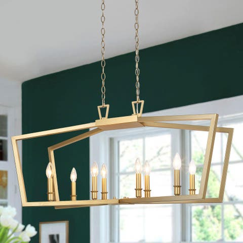 Modern Symmetrical Pendant Lighting Metal 8-light Island Chandelier Light for Kitchen