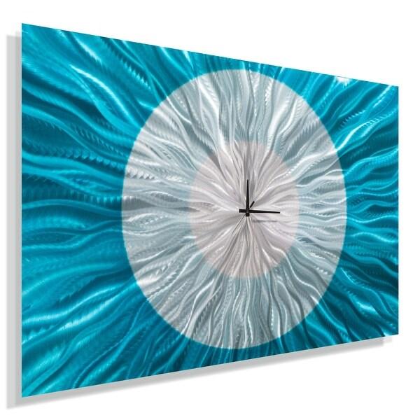 Statements2000 Aqua Blue / Silver 36-inch Metal Wall Clock - Catwalk Aqua
