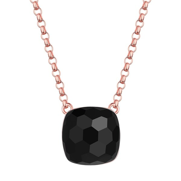 Vedantti Magic Honeycomb Cut Black Onyx Gemstone Protector Solitaire Necklace