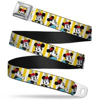 Minnie Mouse W Hat Close Up Full Color Yellow Minnie Mouse W Hat Poses Seatbelt Belt