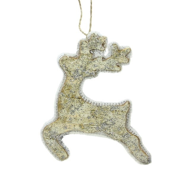 "5.5"" Leaping Reindeer Silhouette Glittered Wood Christmas Ornament - brown"