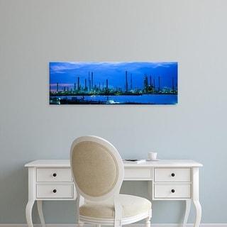 Easy Art Prints Panoramic Images's 'Factory lit up at dusk, Antwerp, Belgium' Premium Canvas Art