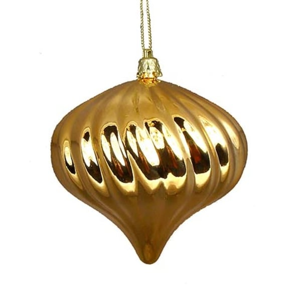 4ct Shiny Vegas Gold Swirl Shatterproof Onion Christmas Ornaments 4""