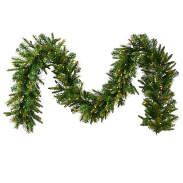 "9' x 14"" Pre-Lit Mixed Cashmere Pine Artificial Christmas Garland - Warm Clear LED Lights"