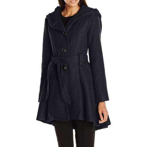 Steve Madden Womens Coat Navy Blue Size XL Single Breasted Belted