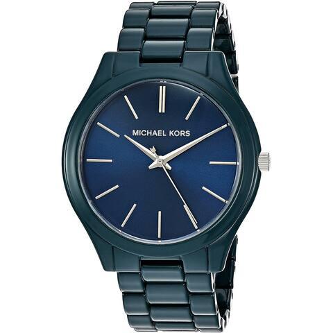 Michael Kors Women's MK4416 Slim Runway Blue Stainless Steel Watch - One Size
