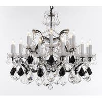 Baroque Wrought Iron & Crystal Chandelier