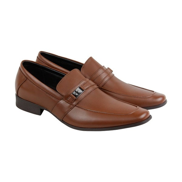 Calvin Klein Bartley Diamond Mens Brown Leather Casual Dress Loafers Shoes