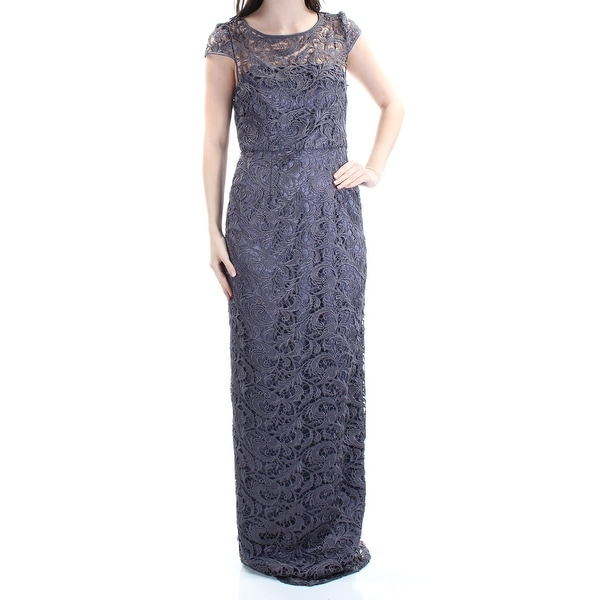 Adrianna Papell Womens Cap Sleeve Column Gown with Lace Inset