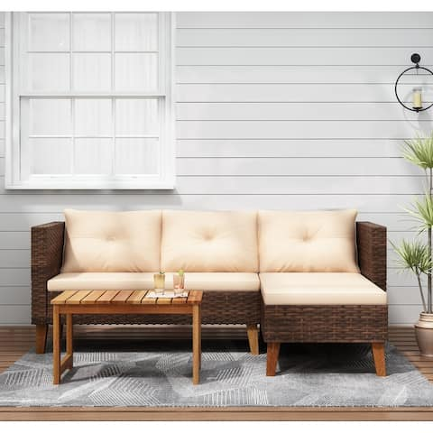 Patio Furniture - 3 Piece Outdoor Sectional Set, Brown