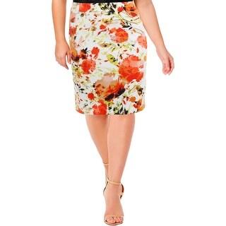 Kasper Womens Plus Pencil Skirt Matter Jersey Floral Print