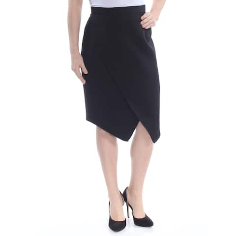 TAHARI Womens Black Faux-wrap Knee Length Pencil Wear To Work Skirt Petites Size: 8