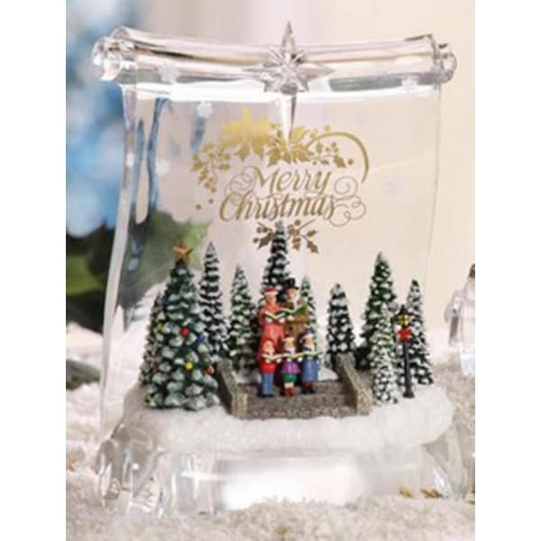 "Pack of 2 Icy Crystal Illuminated Christmas Choir Scroll Figurines 8"" - CLEAR"