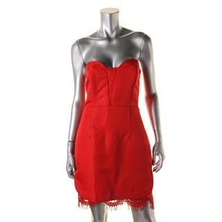 Mustard Seed Womens Strapless Lace Trim Cocktail Dress