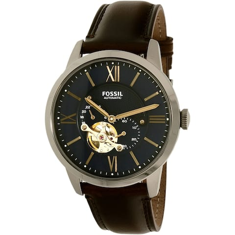 Fossil Men's Townsman Blue Leather Japanese Automatic Dress Watch