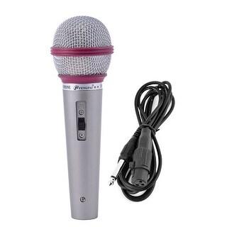 Wired Dynamice KTV Karaoke Microphone Dark Fuchsia Light Gray Silver Tone