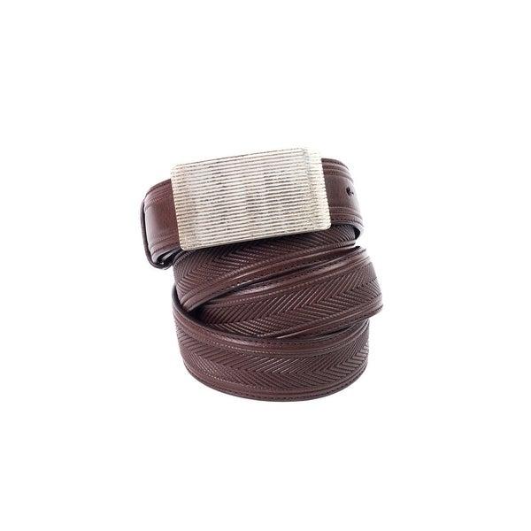 Brunello Cucinelli Womens Brown Chevron Leather Derby Belt