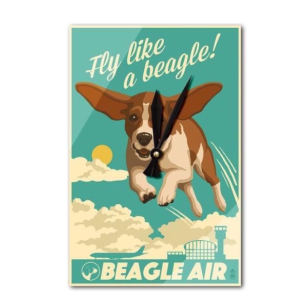 Beagle - Retro Aviation Ad - LP Artwork (Acrylic Wall Clock) - acrylic wall clock